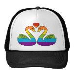Dos cisnes del arco iris gorros bordados