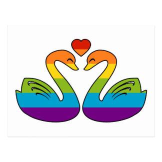 Dos cisnes del arco iris postal