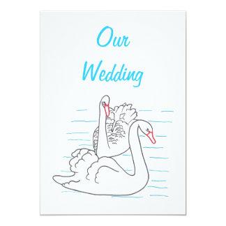 """Dos cisnes que nadan invitaciones del boda del invitación 5"""" x 7"""""""