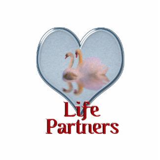 """Dos cisnes que nadan w/text """"vida Partners """" Fotoescultura Vertical"""