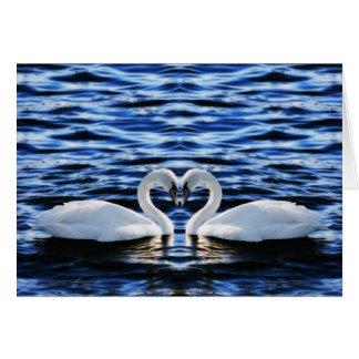 Dos cisnes tarjeta de felicitación