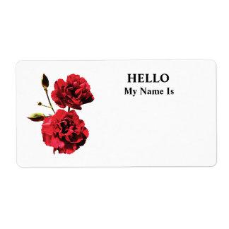 Dos claveles rojos con los brotes etiqueta de envío
