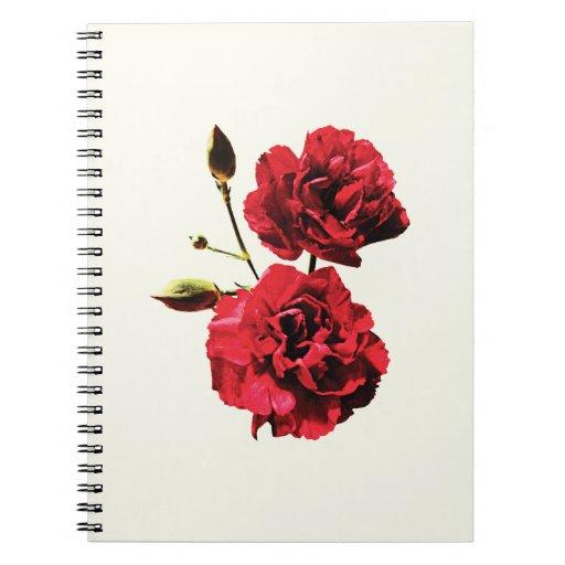 Dos claveles rojos con los brotes libro de apuntes con espiral