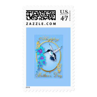 Dos colibríes azules y una mamá estampilla