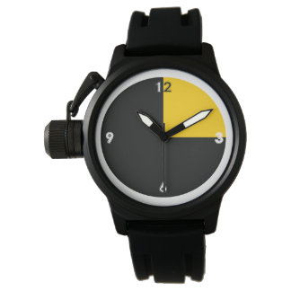 Dos-coloreado reloj-Amarillo/negro Relojes