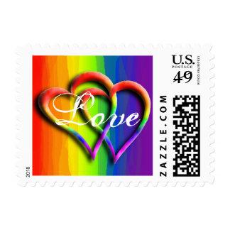 Dos colores gay del arco iris del boda del amor sellos