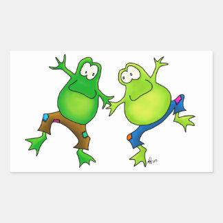 Dos compinches de salto felices de la rana pegatina rectangular