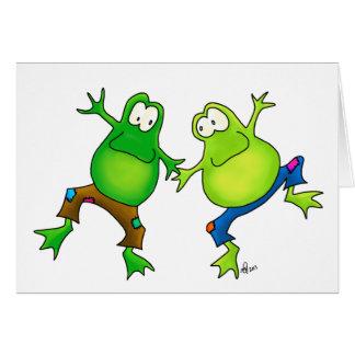 Dos compinches de salto felices de la rana felicitaciones