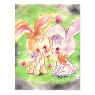 Dos conejitos púrpuras y anaranjados lindos tarjetas postales