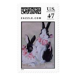 Dos conejitos timbre postal