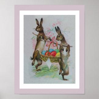 Dos conejos de Pascua que llevan los huevos Poster