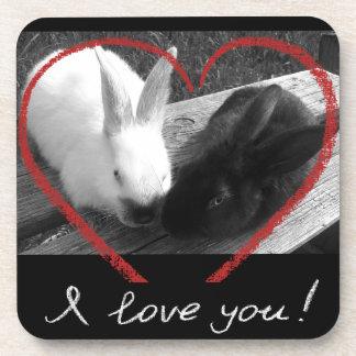 Dos conejos lindos con un corazón. Los contrarios Posavaso