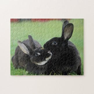 Dos conejos Nuzzling de Rex - fotografía animal Rompecabeza
