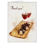 Dos copas de vino y frutas - gracias tarjeton