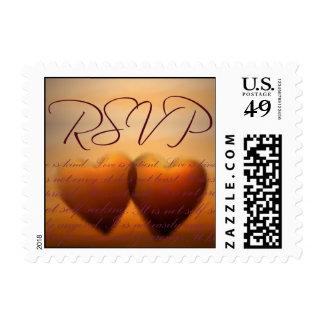 Dos corazón RSVP - tamaño pequeño Franqueo