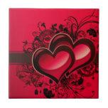 Dos corazones azulejos ceramicos