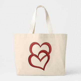 Dos corazones bolsa lienzo