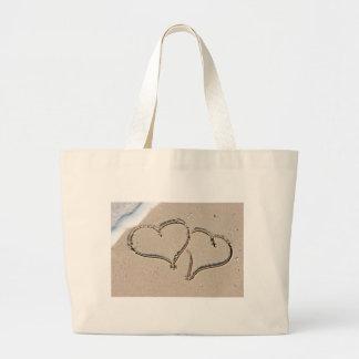 Dos corazones cariñosos bolsa de tela grande