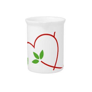 Dos corazones con el símbolo de las hojas para el jarron