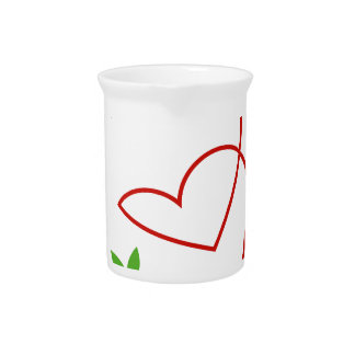 Dos corazones con el símbolo de las hojas para el jarras de beber