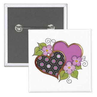 Dos corazones con los flores pin cuadrada 5 cm