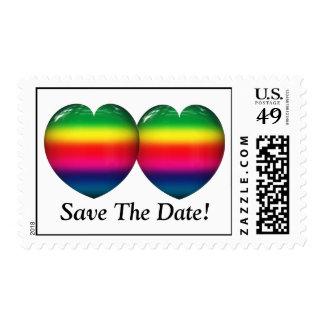 Dos corazones del arco iris que casan franqueo