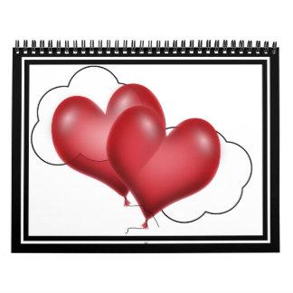 Dos corazones del globo con la nube calendarios