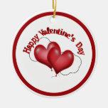 Dos corazones del globo con la tarjeta del día de