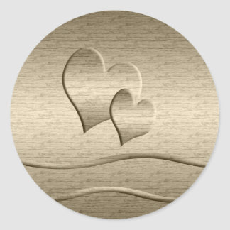 Dos corazones del oro pegatina redonda