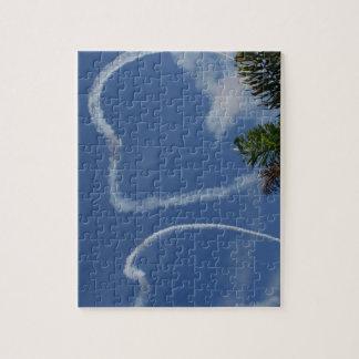 dos corazones dibujados por los aeroplanos sobre l puzzles