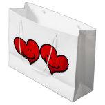 dos corazones en amor bolsa de regalo grande