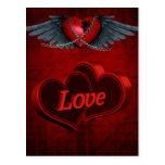 Dos corazones en amor postal