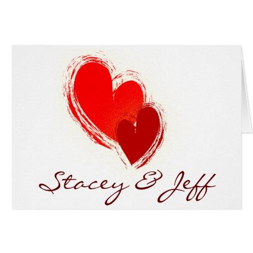 Dos corazones en amor tarjetas