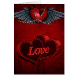 Dos corazones en amor tarjeta de felicitación