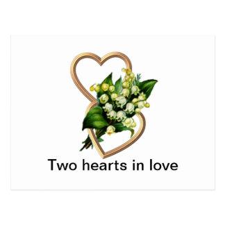 Dos corazones en amor postales