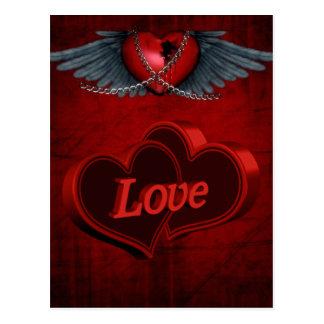 Dos corazones en amor tarjetas postales