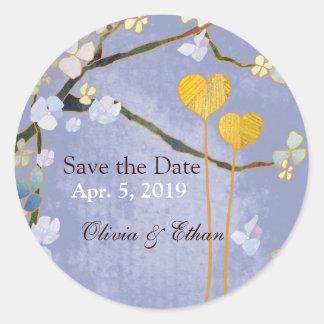 Dos corazones en el boda azul ahorran a los pegati