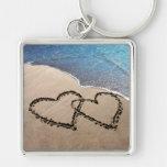 Dos corazones en el llavero del amor de la arena