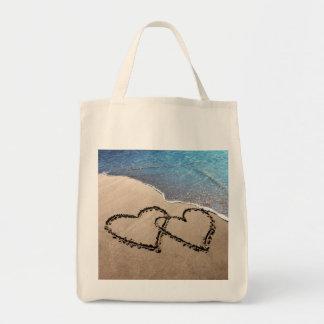 Dos corazones en el tote de la arena bolsa tela para la compra