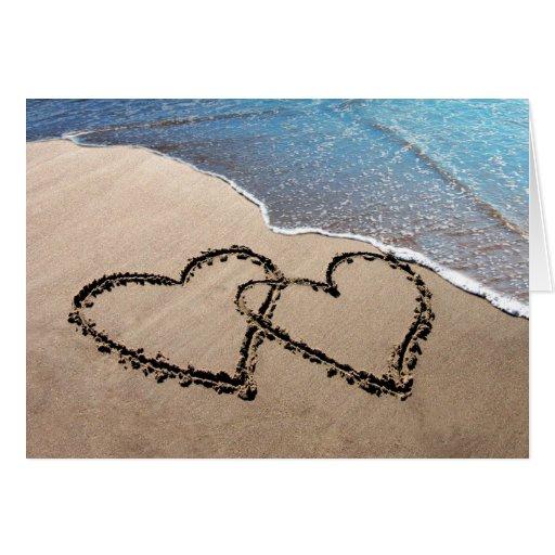 Dos corazones en la arena Notecards Tarjeta Pequeña