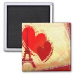 Dos corazones en París Imán De Frigorífico