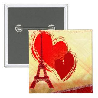 Dos corazones en París Pin Cuadrado