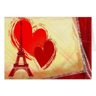 Dos corazones en París Tarjetón