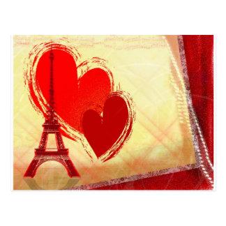 Dos corazones en París Tarjeta Postal