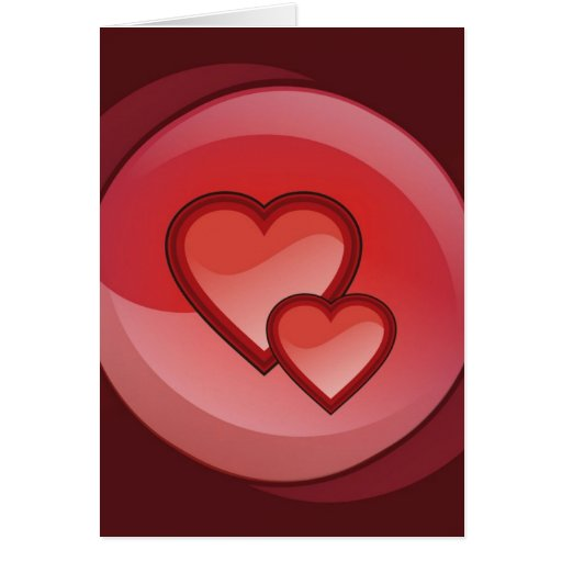 Dos corazones en un círculo rojo felicitación