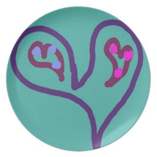 Dos corazones en una placa de cena de la melamina plato de cena