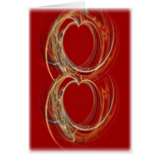 Dos corazones entrelazados felicitaciones