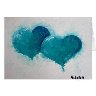 Dos corazones esconden Notecard, tarjeta del