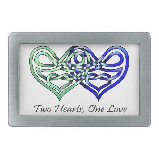 Dos corazones hebillas cinturon rectangulares
