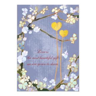"""Dos corazones: Invitaciones azules del boda Invitación 5"""" X 7"""""""